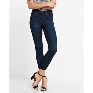High Rise Raw Hem Cropped Dark Jean Leggings NWOT